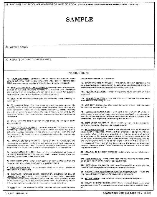 Sample Category Ii Quality Deficiency Report Cat Ii Qdr Standard