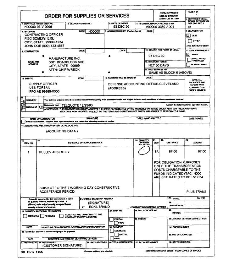 Order For Supplies And Services Dd Form 1155 (Indirect Delivery