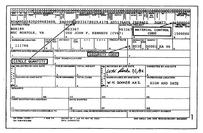 DOD Single Line Item Release/Receipt Document, DD Form 1348-1 - 12655_50
