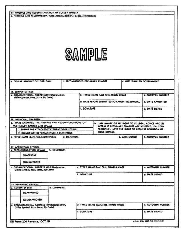 Report Of Survey, Dd Form 200 (Reverse) - 12655_68