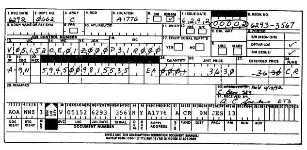 DOD Single Line Item Release/Receipt Document, DD Form 1348-1 ...