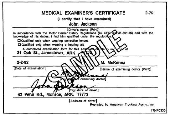 Medical Examiners Certificate